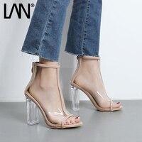 LANSHULAN 2017 New Peep Toe Summer Women Sandals Fashion Jelly Shoes Transparent Crystal Summer Women Pumps