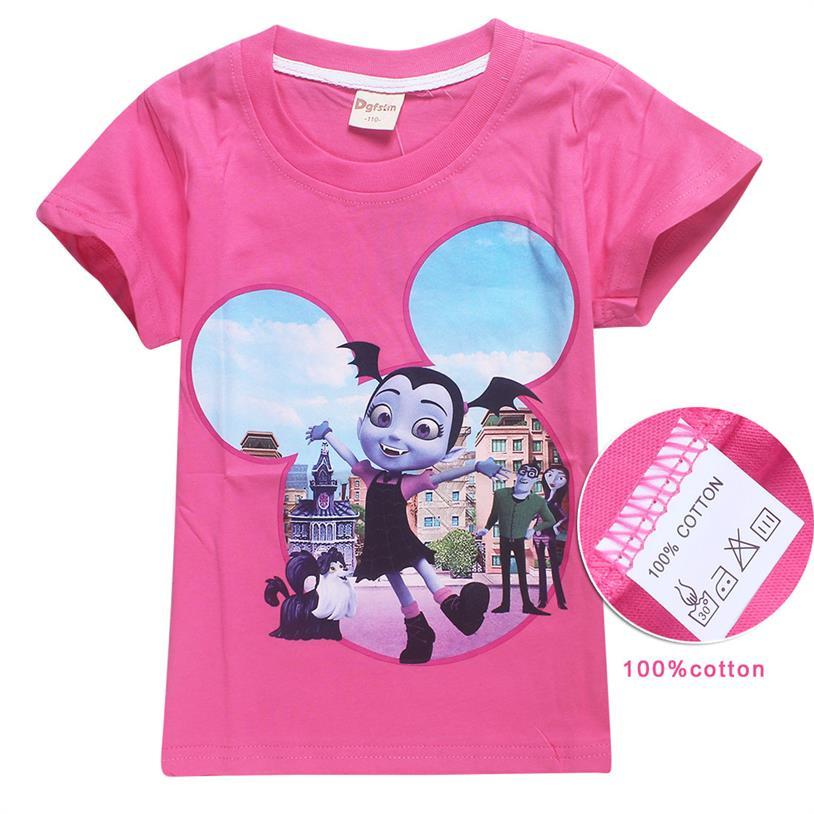 Vampirina Girls Kids Cartoon Short Sleeve T-shirt Tops Summer Casual Costumes