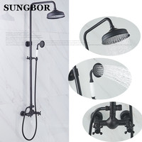 8 Черный для душа голову ванная комната, тропический душ установить медь с слайд бар водопад смеситель для душа ванная приспособление HS 8832H