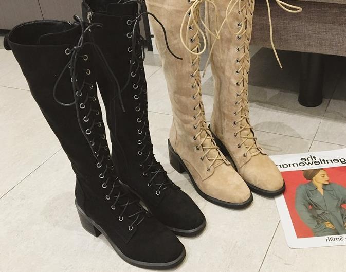 Martin Version Automne 2018 Chaussures Nouvelle canon Coréenne Haute Longue Étudiants jaune Printemps Épais Mode Femelle Talons Noir Marée Avec Bottes pqprPxFw