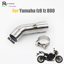 For YAMAHA FZ8N Slip On For Yamaha FZ8 FZ800 51mm Motorcycle Exhaust Muffler Pipe Middle Pipe Connector Link Pipe Tube