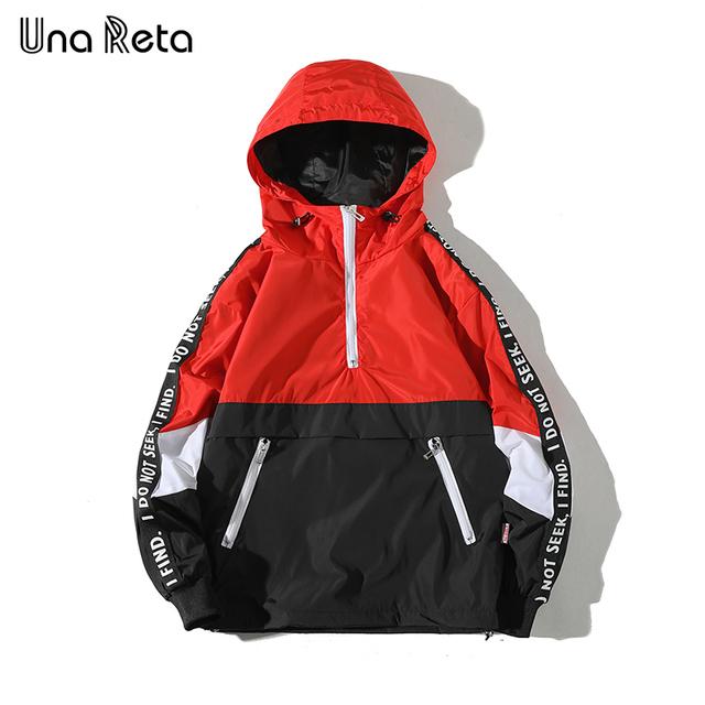 Una Reta Hooded Jackets Men 2018 New Patchwork Color Block Pullover Jacket Fashion Tracksuit Casual Coat Men Hip Hop Streetwear