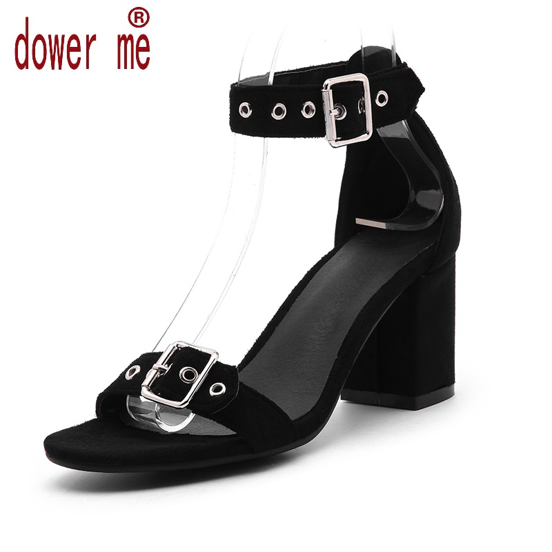 Dower Me 2017 Summer Sandals Woman Buckle Sandals Women Pu Leather Casual Open Toe Gladiator Square Heel Shoes Zapatos Mujer 2017 new summer shoes woman platform sandals women genuine leather casual open toe gladiator wedges women shoes zapatos mujer