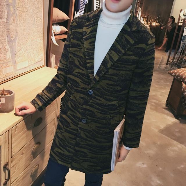 Nueva llegada 2016 camuflaje de invierno engrosamiento de la moda de un solo pecho hombres de la capa larga erkek mont hombres ropa del tamaño m-5xl NDY4-1