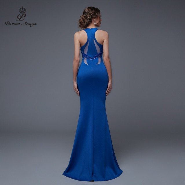 Poems Songs 2019 New Sexy Personality Back Evening prom gowns Party dress vestido de festa Elegant Vintage robe longue 4