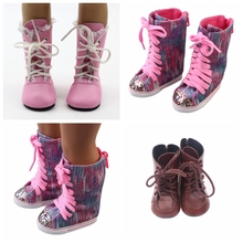 1 Pair PU Leather Boots Pink Brown Glitter For 43cm New Baby Dolls As 18 Inch Mini Shoes baby Gift