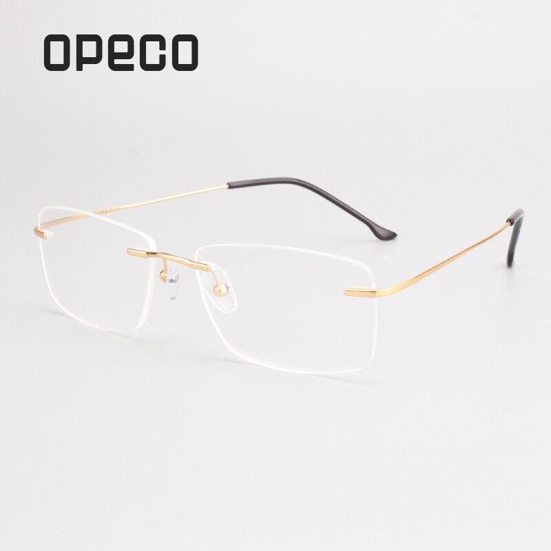 Opeco ללא שפה גברים של טהור טיטניום משקפי משקפיים מסגרת זכר קוצר ראייה אופטי מרשם #2870