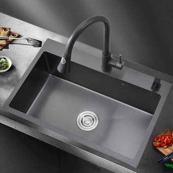 Acero inoxidable negro 304 nm hecho a mano llave para lavabo de una ranura multifunción fregadero de cocina un solo tazón con grifo