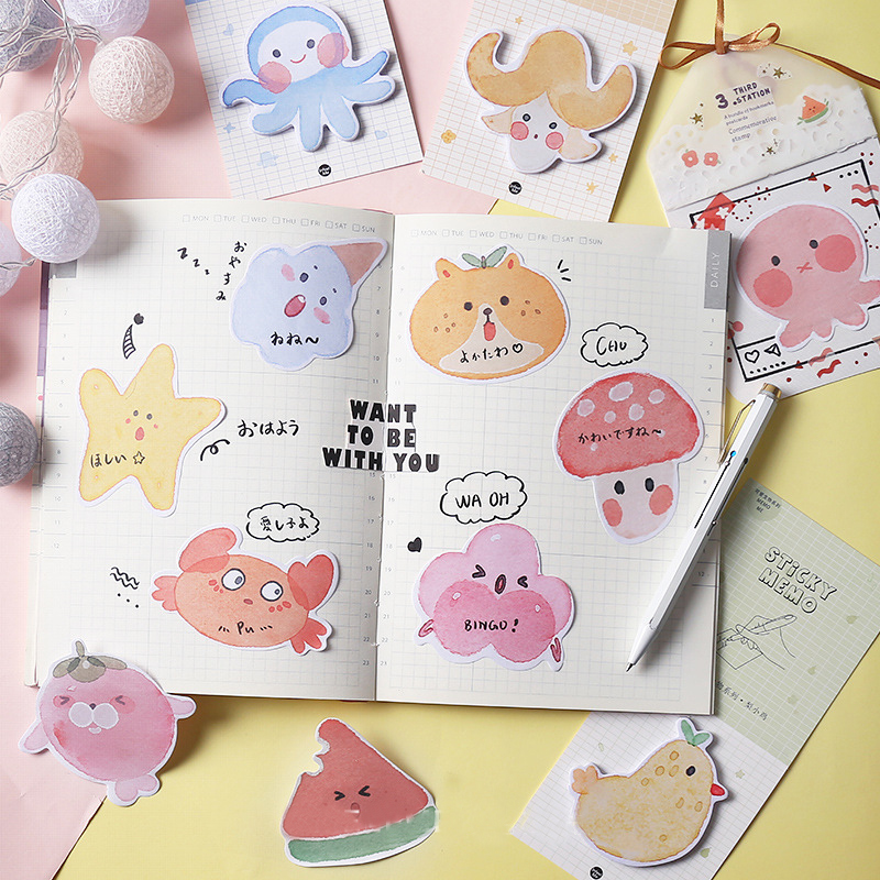 Mohamm Cute Creature Series Kawaii Sticky Notes Office Decor Memo Pad Shipping Supplies Decoration Japanese Stationery