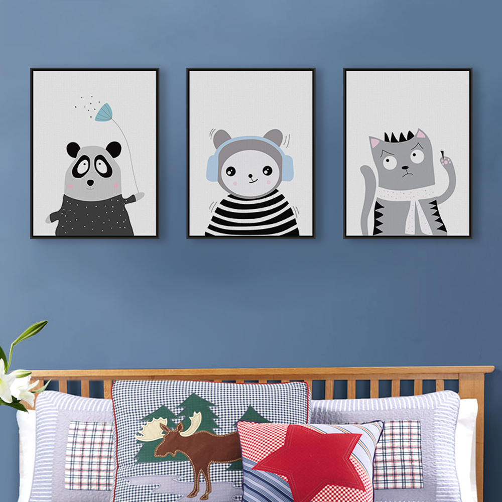 3 Piece Nordic Black White Cute Animal Panda Fox Bear Art Poster Print Wall Picture Canvas
