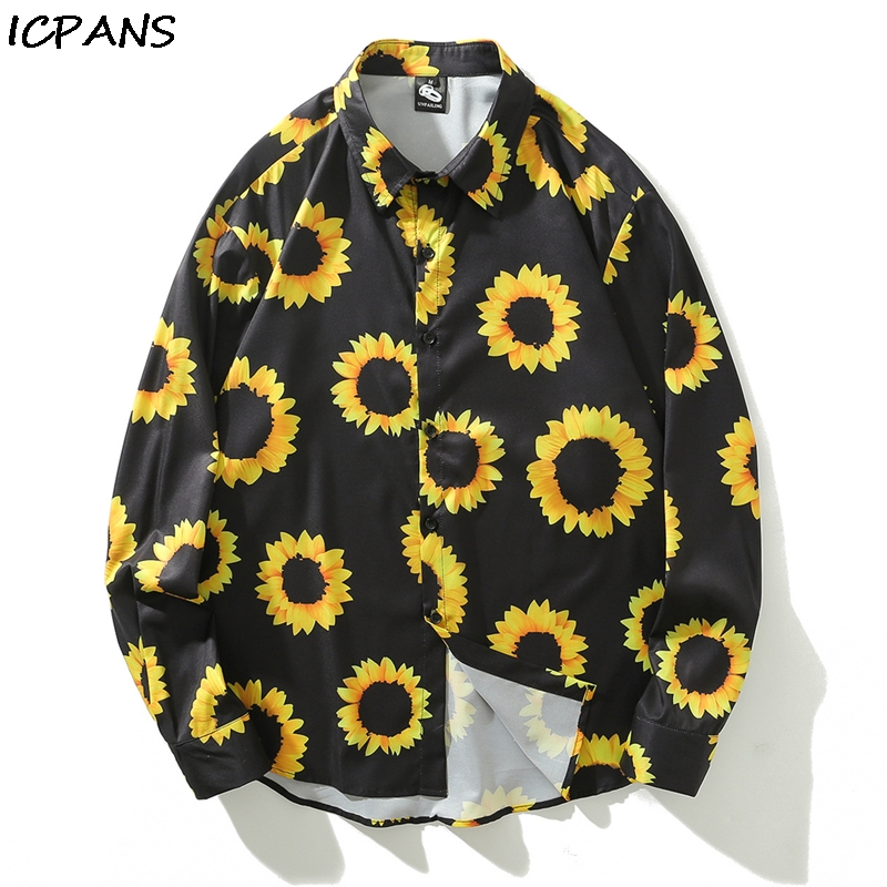 ICPANS Print Casual Shirts Men Long Sleeve 2019 Spring Summer Japanese Style Hawaii Streetwear