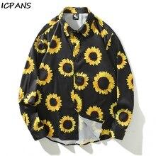 ICPANS Print Casual Shirts Men Long Sleeve 2019 Spring Summer Japanese Style Hawaii Streetwear
