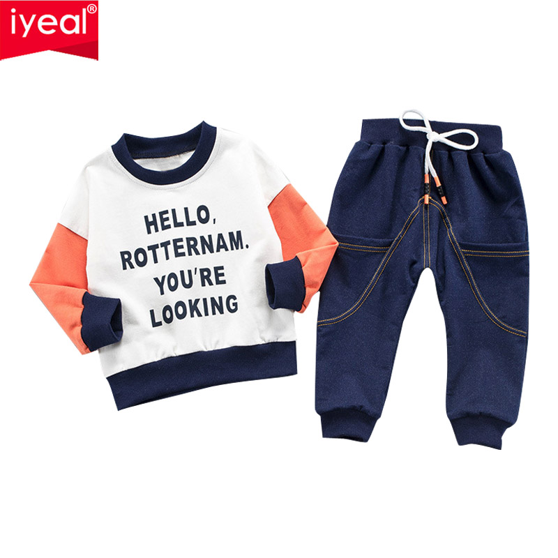 IYEAL Kid Baby Boys Clothes set Casual Cotton Letter Tops T-shirt + Long Pants for Children Toddler Baby Tracksuit 1 2 3 4 Years 2pcs children outfit clothes kids baby girl off shoulder cotton ruffled sleeve tops striped t shirt blue denim jeans sunsuit set