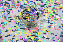 TCA100 laser holographic Silver color Tie shape 5mm Size Glitter paillette spangles for Nail Art and