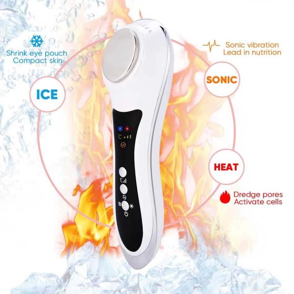 USB Face Vitration Massager Hot Cold Hammer Wrinkle Acne Removal Skin Lifting Facial Massager Machine Skin Care Beauty Device купить недорого в Москве