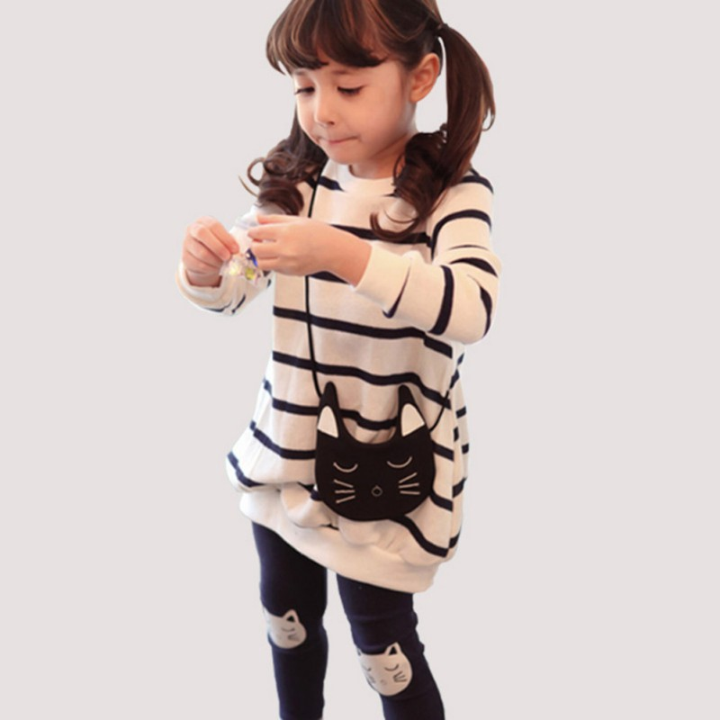 2017 Autumn Winter Girls Clothes Set Teenage Girls Clothing Sets Strip T-Shirt+Pant 2pcs Kids Girl Sport Suit Children Clothes girls clothing sets 2018 winter girls clothes set t shirt pants 2 pcs kids clothes girl sport suit children clothes 6m 24m