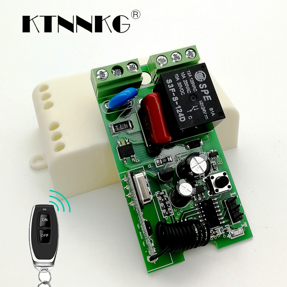 KTNNKG AC220V 1CH Wireless Remote Switch Receiver DIY Relay Module and 433 MHz Universal ...