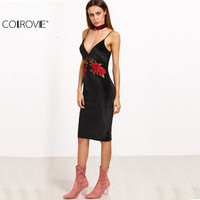 COLROVIE Sexy Club Dresses New Arrival European Style Elegant Black Embroidered Rose Applique Velvet Cami Dress