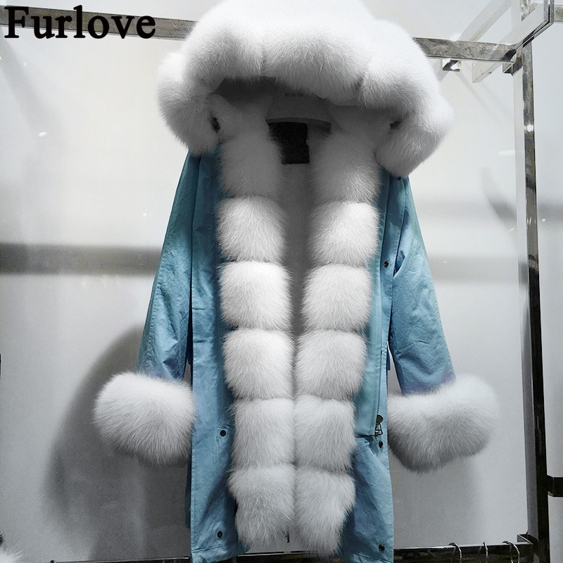 Furlove Genuine Fox Fur Collar Coat New Fashion Women Winter Jackets And Coats Hooded Rex Rabbit Fur Coat  Fox Fur Parkas 2017 winter new clothes to overcome the coat of women in the long reed rabbit hair fur fur coat fox raccoon fur collar