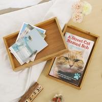 1 PCS Vintage solid wood tray wooden rectangular storage box restaurant hotel bamboo tea tray AP10261444