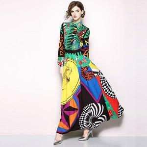 Image 3 - Borisovich מסלול מקסי שמלה חדש 2018 סתיו אופנה הדפסת בציר תורו למטה צווארון אלגנטי Slim נשים המפלגה ארוכה שמלות m659