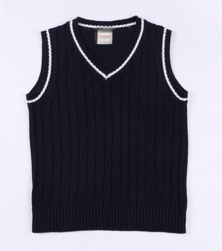 ca73e42f09a7 5 12 Years Old College Style Kids Knitted Vest Solid V neck ...