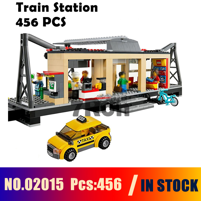 Model building toys hobbies 02015 Train Station Compatible With lego Blocks City 60050 Educational DIY Bricks lepin 02015 456pcs city series train station car styling building blocks bricks toys for children gifts compatible 60050