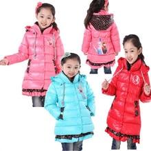 2016 Kids Jackets Coats Winter Anna Elsa Coats Children Outerwear Girl Cartoon Down Parkas Warm Snow