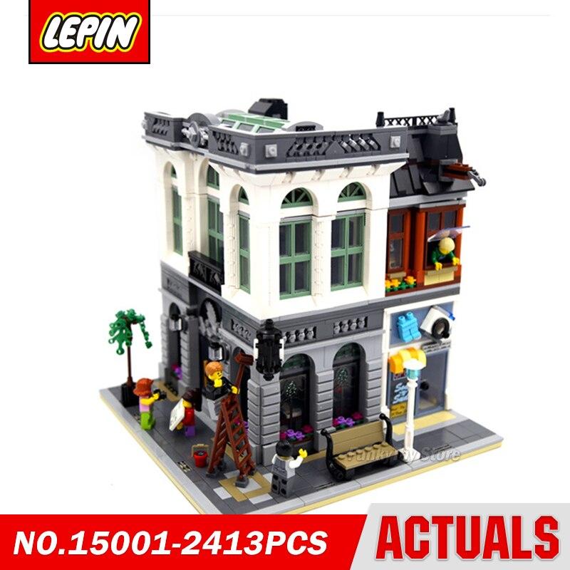 Lepin 15001 Brick Bank 10251 City Street Series Model Building Block Brick Kits Assembling Gift Toys in stock new lepin 17004 city street series london bridge model building kits assembling brick toys compatible 10214