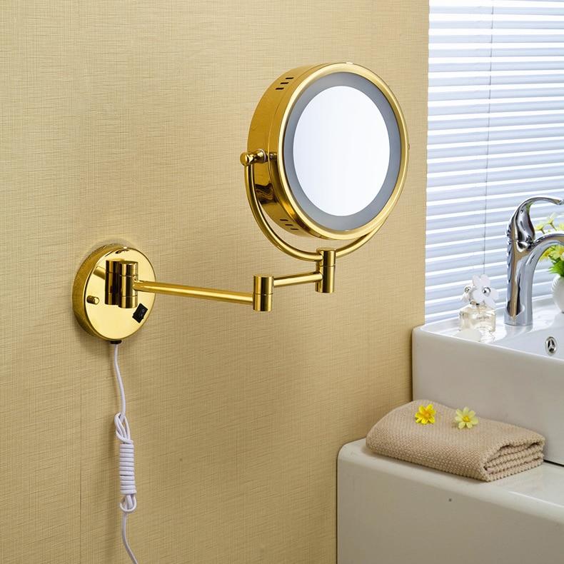 Bath Mirror 8 Round Wall Cosmetic Mirrors 3x 1x Magnifying Mirrors LED Brass Golden Folding Bathroom