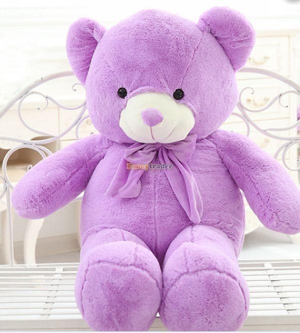 Fancytrader 1 pc 63\'\' 160cm Giant Cute Stuffed Soft Plush Lovely Fat Lavender Teddy Bear, Free Shipping FT50741 (3)