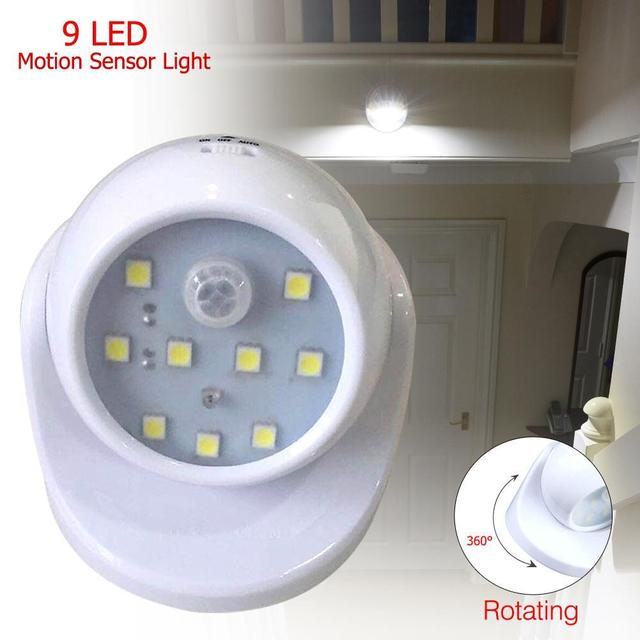 9New LED Motion Activated Light Sensor Battery Wireless Indoor ...