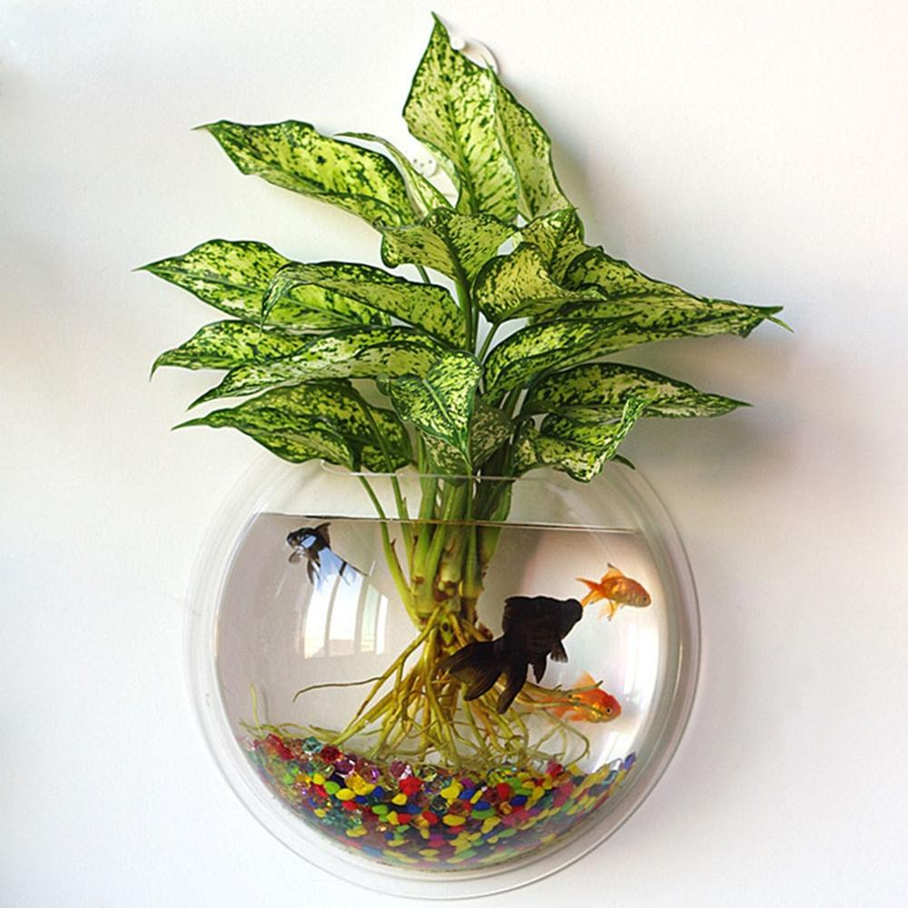 Transparent Acrylic Hanging Wall Mount Fish Tank Bowl Goldfish Vase Aquarium Plant Ecology Pot
