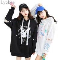 Harajuku Lolita Style Women Sweatshirt Rabbit Pentacle Print Lace Up Hoodies Casual Loose Long Sleeve Tracksuit