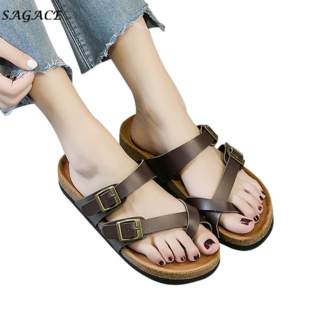 06c0dad17 SAGACE 2018 hot shoes women zapatos mujer Womens Double Buckle Strap  Leather Flat Sandals Thick-soled Cork Slipper size36-43