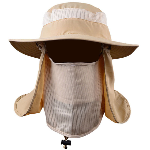 Men Women Outdoor Sun Hat Fishing Hiking Hat With Face Neck Flap Protection  Cover Removable Cap YS-BUY 274a9c48783e