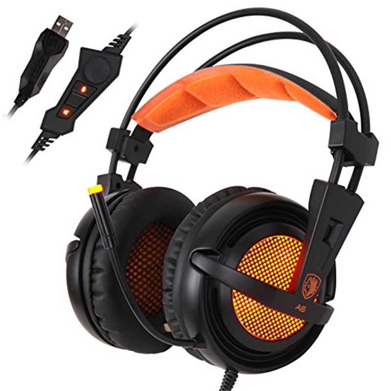 Computer Stereo Gaming Headphones SADES A6 USB 7.1 Surround Sound Over Ear Gamer Headset casque with MIC LED Light for PC Gamer