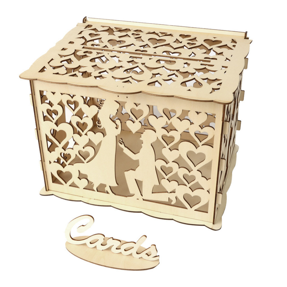 Wedding Card Box With Lock DIY Money Wooden Gift Boxes For Birthday Party #4