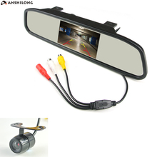 ANSHILONG 4.3 TFT LCD Car Parking Rearview Mirror Monitor 2 Video Input For Rear View Camera Night Vision Reverse Auto Camera 2 in 1 2 4ghz wireless camera 3 5 lcd car vehicle rearview mirror monitor set black silver page 2