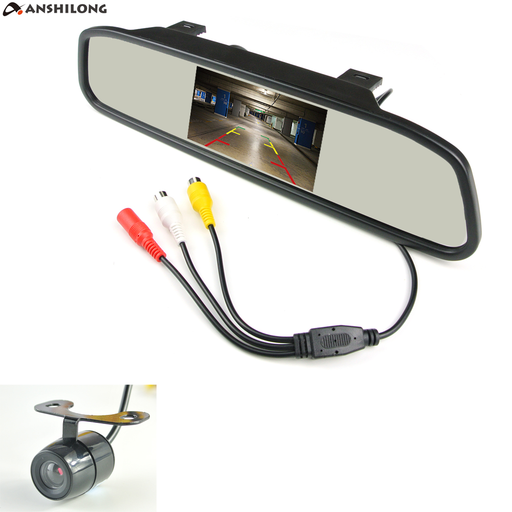 ANSHILONG 4.3 TFT LCD Car Parking Rearview Mirror Monitor 2 Video Input For Rear View Camera Night Vision Reverse Auto Camera