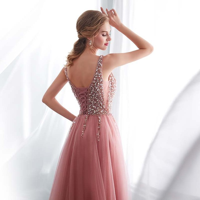 Beading Evening Dress 2020 V-Neck Pink High Split Tulle Sweep Train Sleeveless Prom Gown A-line Lace Up Backless Vestido De 5