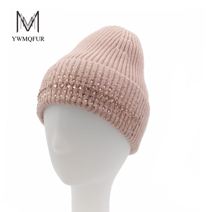 YWMQFUR 2017 Hot Selling Winter Hat Wool Knitted Women's Hats Rhinestones Pointed Cap Girl Thick Warm Skullies Beanies Caps H188 cute cartoon bear ms qiu dong the day man with thick warm knitting wool hat sets pointed cap