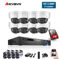 Full HD 5.0MP 8 Channel CCTV System 8pcs 5MP Vandalproof Weatherproof Dome IP Camera POE NVR CCTV Kit HDMI P2P Email Alarm xmeye