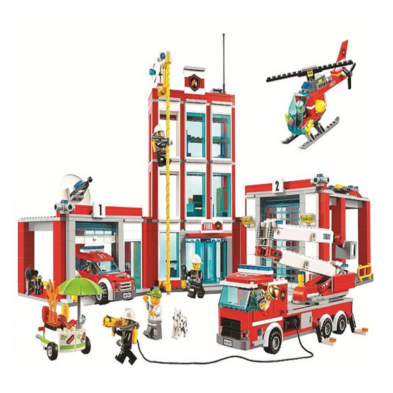 Legoings 60110 958 шт. город серии пожарная станция Модель Building Block кирпичная игрушка для детей подарок на день рождения 10831