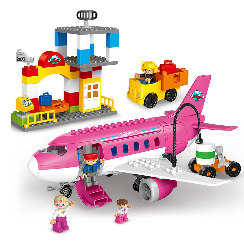 new toy Large Airport Airplane building blocks busy city series big size bricks