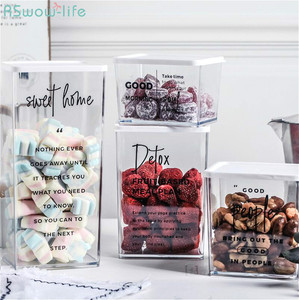 Image 1 - Nordic Snack Nut With Cover Receiving Box Refrigerator Plastic Fresh Keeping Sealing Box High and Low PP Cosmetic Storage Tank