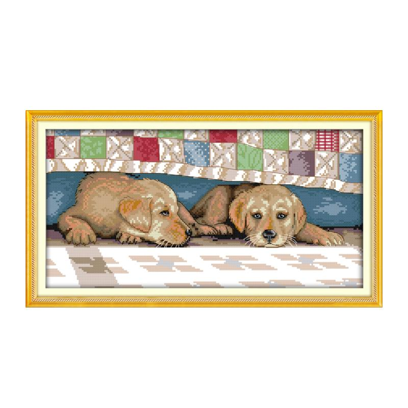 Small foreign trade puppy pattern handmade furniture sewing embroidery cross stitch suite, the dog resting bedside loyal friend