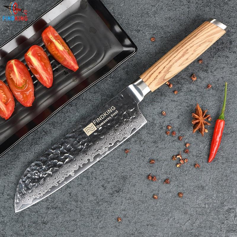 FINDKING 2017 New Zebra wood handle damascus knife 7 inch santoku chef knife 67 layers damascus