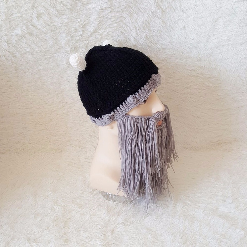 Men\'s Hat Head Barbarian Vagabond Viking Beard Beanie Horn Hats ...