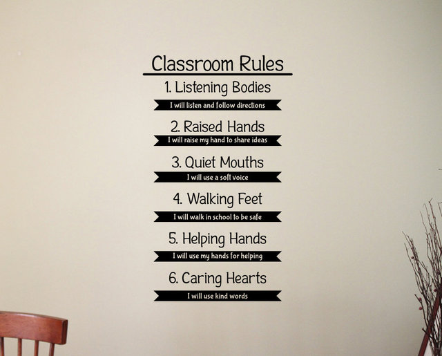 classroom rules wall decal education study learning inspirational